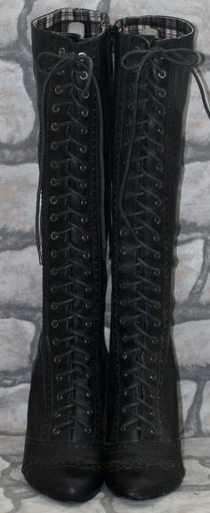 Black Faux Leather Victorian Goth Steampunk Brogue Lace Up Knee High Boots 5 38