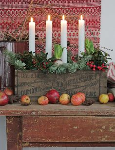 Advent Candle inspiration. What is it about apples and berries and greens that make the perfect Christmas Decorations? I LOVE this arrangement with the greens in the rustic vintage box.