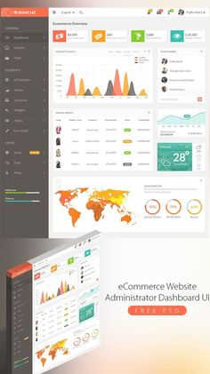 <p>Download eCommerce Website Administrator Dashboard UI Free PSD. Website or Application Dashboards are the main interface between the application and the user hence dashboards needs a good and clear design. So today's Freebie is a dashboard that has a flat…</p> Dashboard Ui, Dashboard Design, Flat Ui, Ecommerce, Layout, Chart, Map, Website, Free