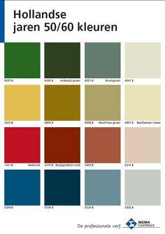 Hollandse jaren 50/60 kleuren. Sigma kleurenkaart.