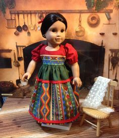 Historical Christmas Eve dress for Josefina by craftymagaw on Etsy