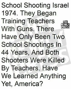 Follow Israel's example and arm our teachers!