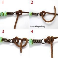 Tying half-hitch knot for Rustic Leather Cord and Bead Necklace - tutorial by Rena Klingenberg