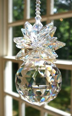 Crystal Pineapple Suncatcher, 30mm Swarovski Logo-Etched  Crystal Ball @EstellaSeraphim