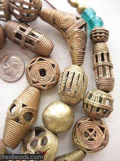 Mixed Tabular Brass Beads   $28.00