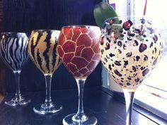 Set of 4 Hand Painted Animal Print Wine Glasses via Etsy