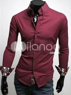 Attractive Wonderful Formal Red 100% Cotton Long Sleeves Mens Shirt $17.99