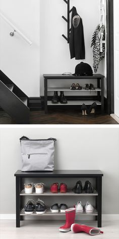 Keep your hallway or mudroom clutter-free! Add the IKEA TJUSIG bench with shoe storage to your entryway to make it the perfect place to kick off your shoes when you come home.