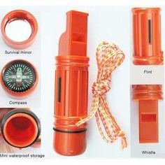 5 - in - 1 Survival Whistle with compass, mirror, waterproof storage compartment, flint, and whistle.
