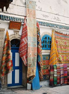 Bright Colored Rugs in Morocco | photography by http://photographybycatherine.co.uk/