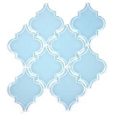 Arabesque Glass Tile Mosaic in color Baby Blue.  A true, sky, light blue tone glass tiles.
