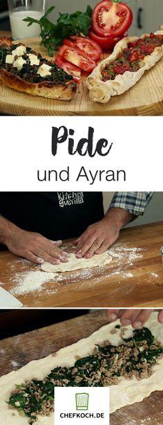 Pide und Ayran, echte Klassiker der türkischen Küche. Im Video seht ihr, wie ihr sie zu Hause zubereiten könnt. Turkish Recipes, Ethnic Recipes, Fire Cooking, Wood Fired Oven, Different Recipes, Tapas, Meal Prep, Food Porn, Brunch