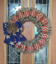 4th of July Burlap Wreath Natural Blue and by SignsBYDebbieHess