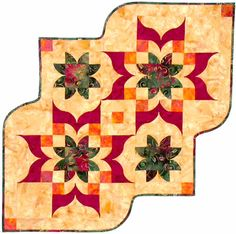 Victorian Table Runner www.southwindquilts.com, #quilting, #dimensionalcurves, #quiltpattern