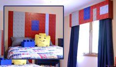 heidi schatze: LEGO Vaughn: Headboard & Cornice This is what I am making for Eddie's new bed! Lego Bedroom, Bedroom Crafts, Kids Bedroom, Bedroom Ideas, Kids Rooms, Lego Room Decor, Boys Room Decor, Boy Room, Boy Headboard