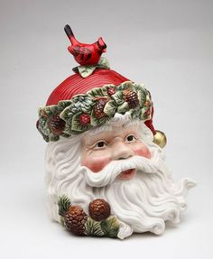 EVERGREEN HOLIDAY SANTA HEAD JAR CHRISTMAS COOKIE JAR CARDINAL PINE CONE