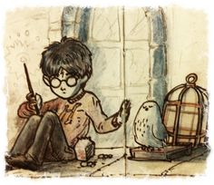 Sad Harry and Hedwig by ThiagoBuzzy.deviantart.com
