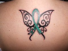 tattoo for my husband - green for liver cancer and organ donor awareness