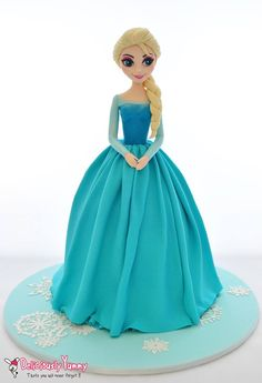 Doll cake, Elsa from Frozen, by Deliciously Yummy Sydney Frozen Doll Cake, Elsa Doll Cake, Disney Frozen Cake, Frozen Theme Cake, Disney Cakes, 4th Birthday Cakes, Frozen Birthday Cake, Fondant Cakes, Cupcake Cakes