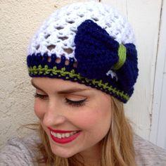 Seattle Seahawks Women's Crochet Beanie  white navy by LapofLuxury, $26.00