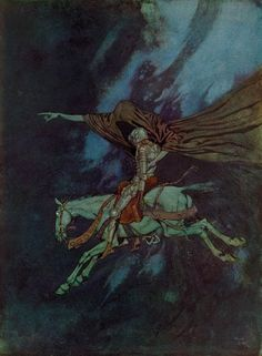 «La vallée des ombres» —Edmond Dulac, L'Eldorado, d'Edgar Allan Poe, Paris,1909.