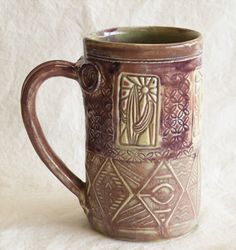 southwest design ceramic mug 16oz stoneware 16D018 by desertNOVA, $20.00