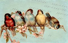 RAINBOW of BIRDS Blue or Beige Altered Antique by FrenchKissed, $3.99