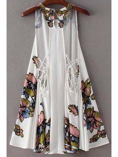 Impresión floral sin mangas redondo del cuello Volver vestir de encaje - Blanco M