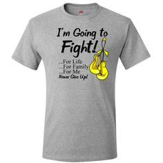 """Testicular Cancer I'm Going To Fight For Life, Family and Me  T-Shirt  featuring the word """"Never Give Up"""" and our original boxing glove ribbon to signify the fight against cancer  #TesticularCancerAwareness"""