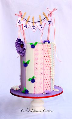 Double Barrel Cake with Textured Stripes
