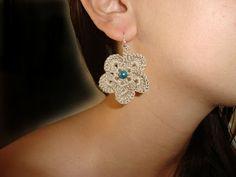 Χρυσό βελονάκι: Χειροποίητα πλεκτά σκουλαρίκια λουλούδια Crochet, Earrings, Jewelry, Fashion, Ear Rings, Moda, Stud Earrings, Jewlery, Bijoux