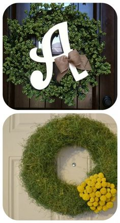 how to make a Moss door Wreath and 50 others wreaths too.  Best wreath blog ever.