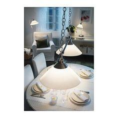 KROBY Taklampa dubbel, förnicklad, glas - - - IKEA