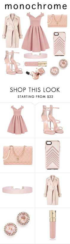 """Monochrome:Pale Pink"" by laughlikecrazy on Polyvore featuring Chi Chi, Giuseppe Zanotti, Chanel, Rebecca Minkoff, Humble Chic, Miss Selfridge, Dana Rebecca Designs and Smith & Cult"