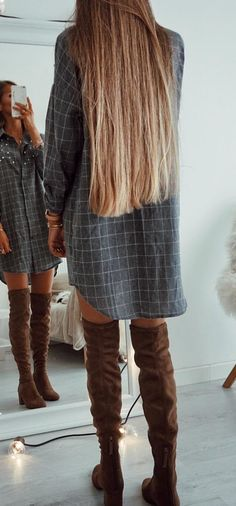 #winter #outfits gray and white long sleeve dress