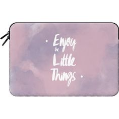 Modern pink purple watercolor quote typography Enjoy the little things... ($60) ❤ liked on Polyvore featuring accessories, tech accessories, bags, fillers - purple and macbook sleeve
