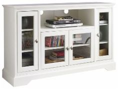 "Walker Edison - Highboy TV Stand for Most TVs Up to 55"" - White - Larger Front"