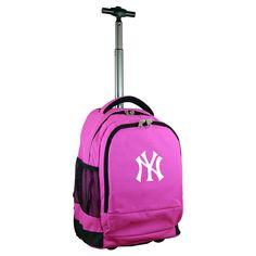 MLB New York Yankees Premium Wheeled Backpack - Pink