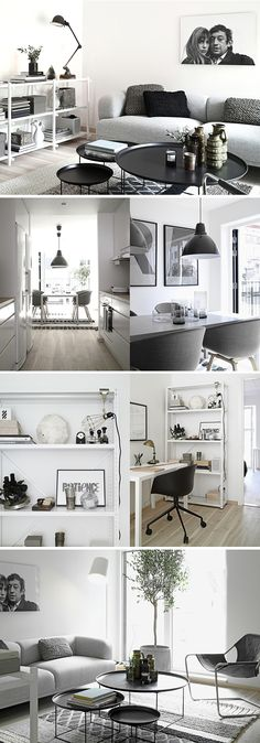 Black and white, greyscale interior design.