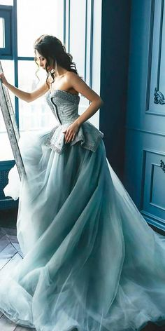 Adorable Blue Wedding Dresses For Romantic Celebration ❤ See more: http://www.weddingforward.com/blue-wedding-dresses/ #weddings