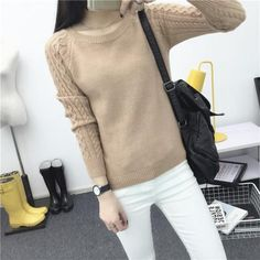 High Quality Autum Winter 2016 Women Sweater Korean Style Retro Twist Round Neck Long-sleeved Knitted Pullover Sweaters