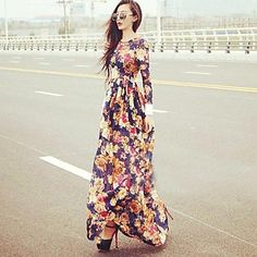 Women's Flower Print Long Sleeve Maxi Dress - EUR € 13.63