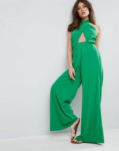 50bc5bb5983 ASOS Jumpsuit with Cross Front and Super Wide Leg at asos.com