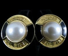 Anne Klein AK Signed Earrings Vintage Gold Tone Enamel Faux Pearl | eBay