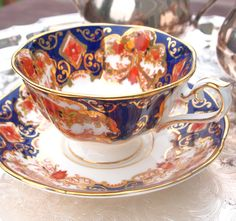 Vintage Tea cup Set Royal Albert Fine Bone China  Heirloom Cobalt Blue and Gold Fine Bone China Teacup and Saucer - England   by HouseofLucien