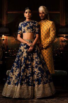 Looking for Sabyasachi Navy Blue Lehenga with gold work? Browse of latest bridal photos, lehenga & jewelry designs, decor ideas, etc. Indian Bridal Outfits, Indian Bridal Wear, Bride Indian, Indian Wear, Bridal Dresses, Red Lehenga, Bridal Lehenga, Navy Blue Lehenga, Royal Blue Saree