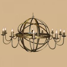Archimedes - Orb Style Chandelier in Old Gold Traditional Lighting, Drawing Room, Medieval, Chandelier, Ceiling Lights, Brass, Gold, Home Decor, Style