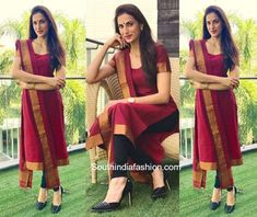 Shilpa Reddy in a Handloom Salwar Suit is part of Dress salwar kameez - Shilpa Reddy was spotted in a maroon handloom chudidhar suit with copper gold borders Kurta Designs Women, Salwar Designs, Dress Indian Style, Indian Outfits, Indian Wear, Red Outfits, Chudidhar Designs, Salwar Dress, Salwar Kameez
