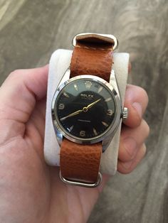 ROLEX OYSTER PRECISION 6422 S.STEEL BLACK DIAL 34MM CA1955 This watch is serviced, oiled, polished and ready to go! Had a custom brown leather nato