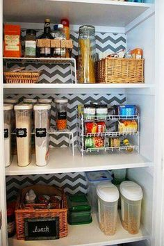 Organized Pantry with Chevron Shelf Paper Background Pantry Closet, Kitchen Pantry, Kitchen Storage, Pantry Organization, Organized Pantry, Pantry Ideas, Kitchen Ideas, Shelf Paper, Pantry Makeover